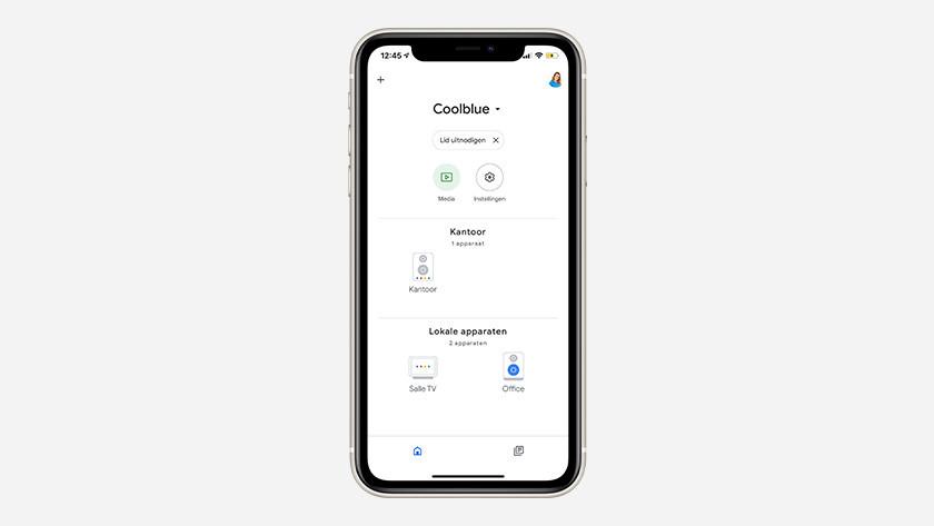 Google Home app in gebruik