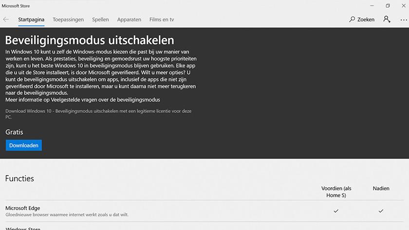 Download Windows 10 Home in de Windows store.