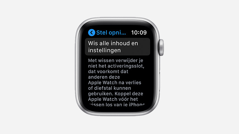 Apple Watch terugzetten naar fabrieksinstellingen