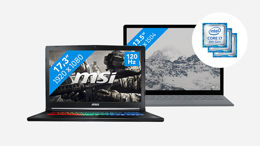 MSI laptop met RGB toetsenbord en Surface laptop. In de hoek: iconen van Intel Core processoren.