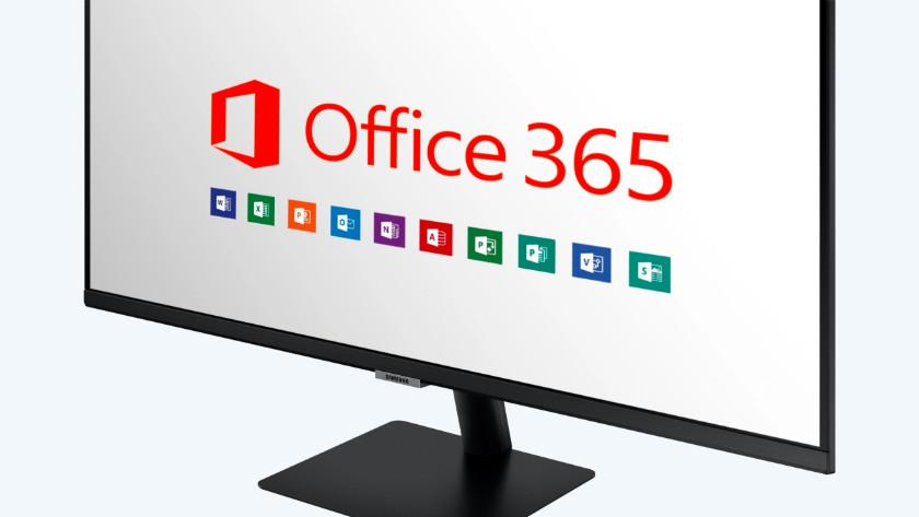 Office 365 op het scherm van de smart monitor