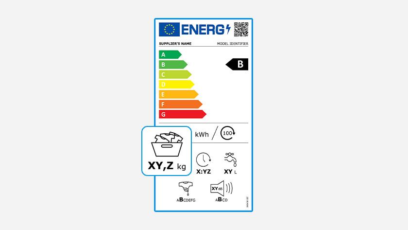 Vulgewicht energielabel wasmachines