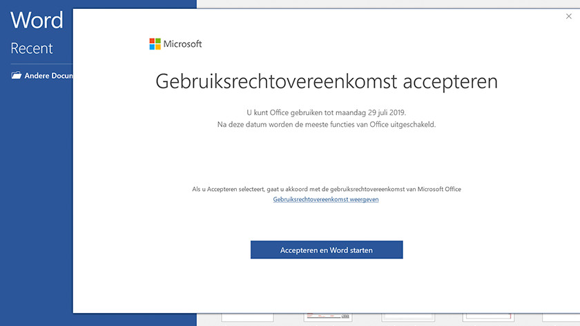 Office license agreement screen