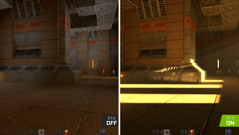 Geen ray tracing vs ray tracing in een game.