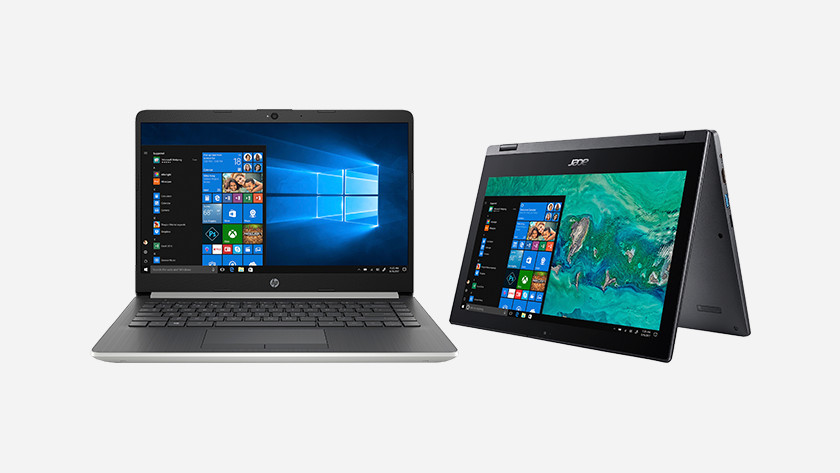 A normal HP laptop and an Acer 2-in-1 laptop.