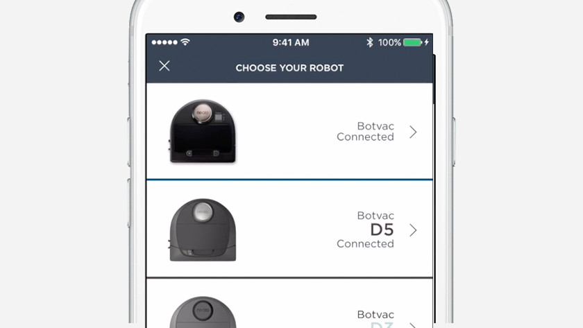 find your robot in the app