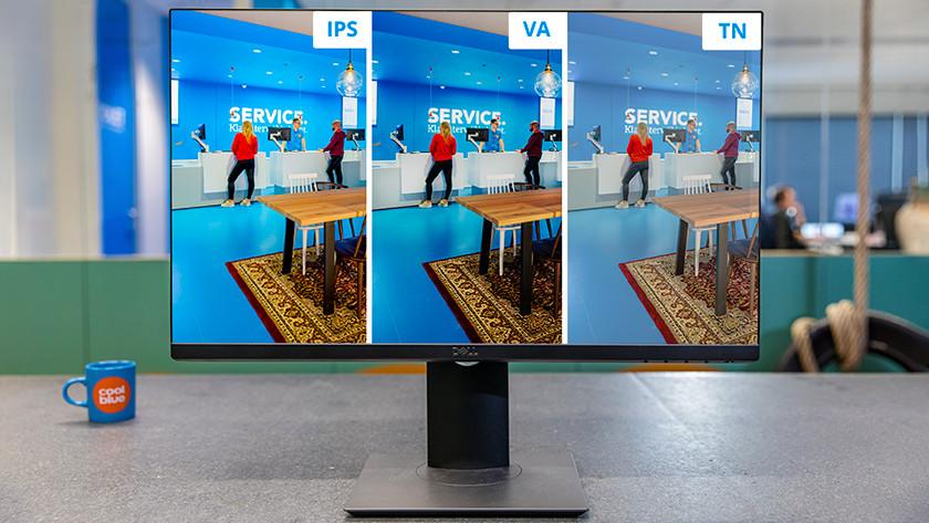 3 paneeltypes van een monitor naast elkaar op het scherm.