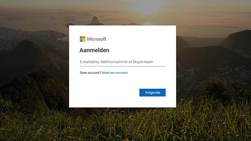 Aanmelden met Microsoft account.