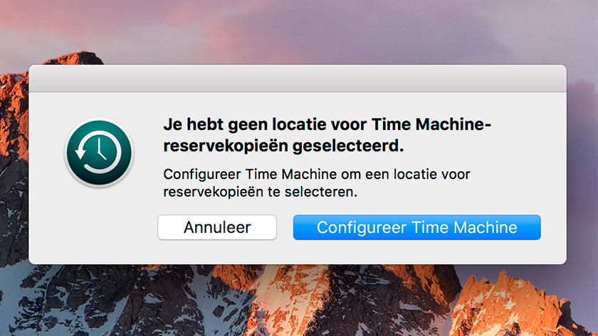 Apple Time Machine configureren