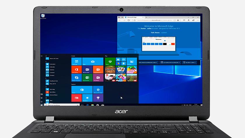 Start menu Windows 10 on Acer laptop.