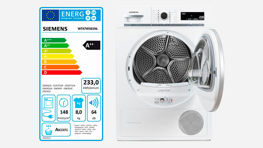 Energy label self-cleaning dryer