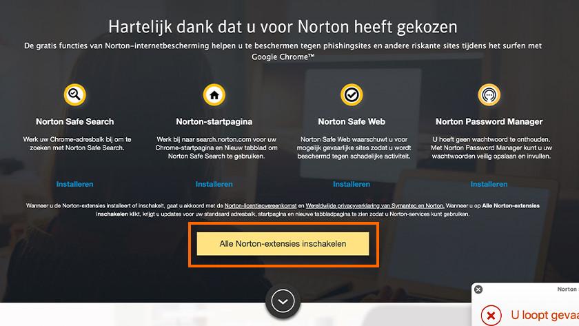 Alle Norton-extensies inschakelen