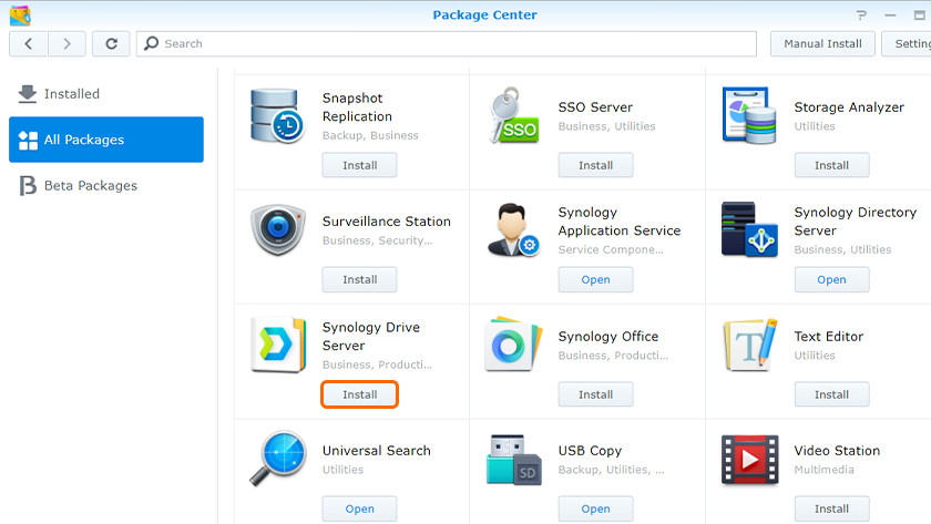 Synology package center voor Drive server