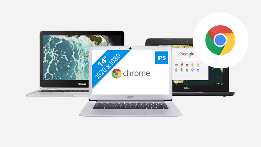 Three Chromebooks side by side.