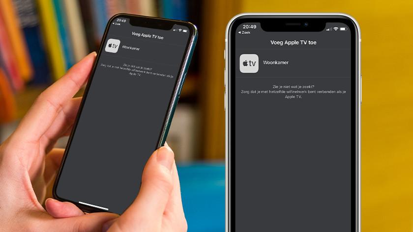 Open de Apple TV Remote vanuit het bedieningspaneel en tik op jouw Apple TV.