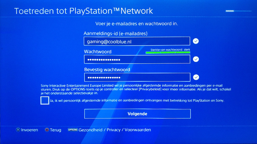 PSN account creation step 3