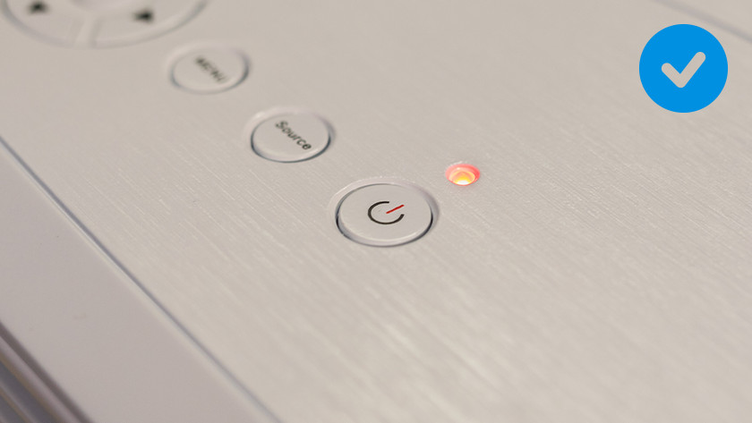 Press the on/off or standby button on the projector.