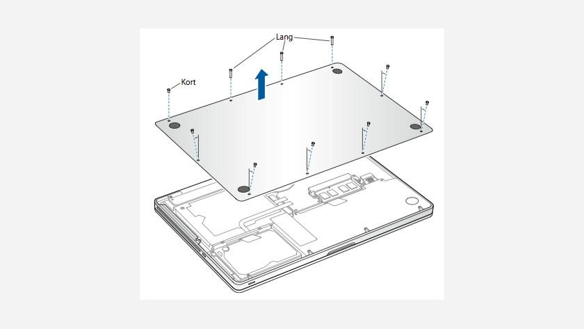 Onderkant van een MacBook verwijderen.