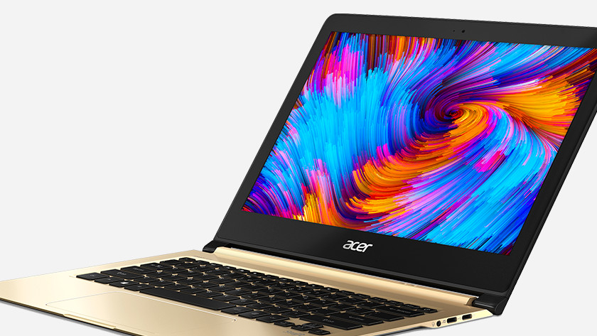 Acer Swift 7 open with color palette on the screen.
