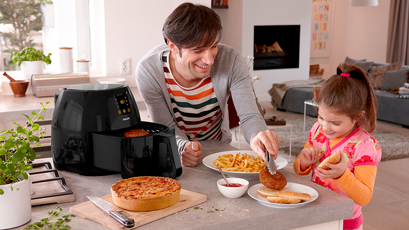 airfryer with fries, croquette, and cake
