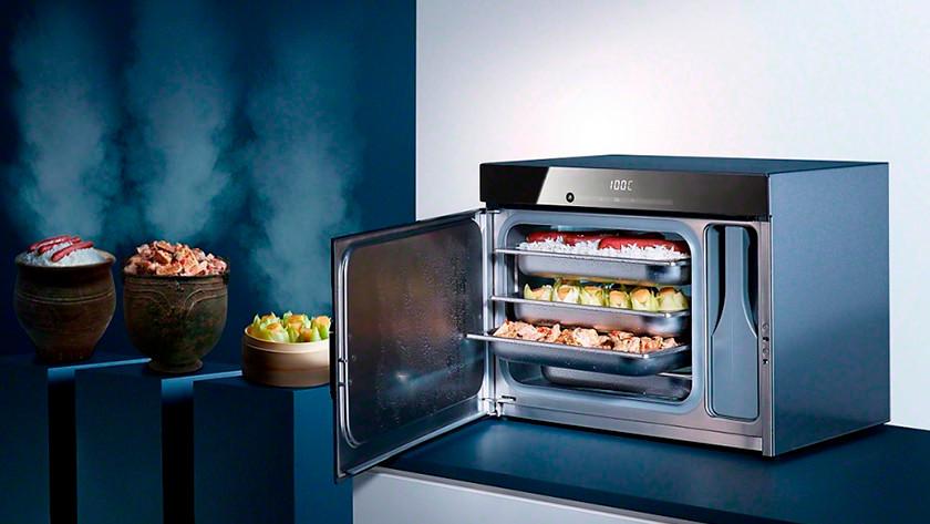 Freestanding oven with door open