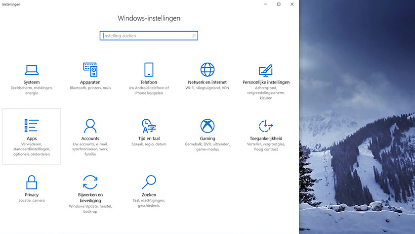 The Windows settings window.