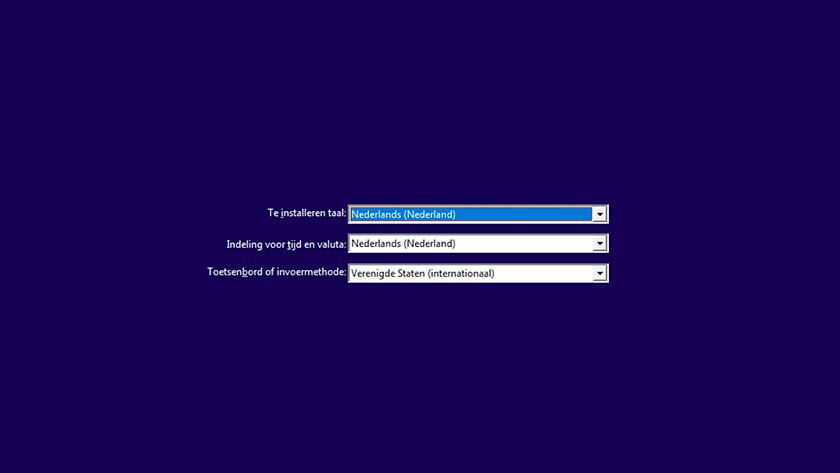 Taal en toetsenbord instellingen Windows 10 installatie.
