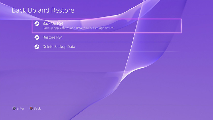 PS4 backup menu