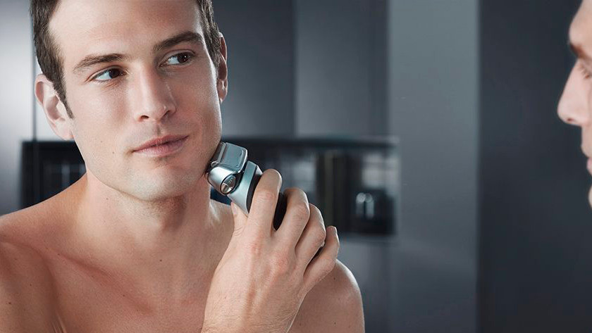 Shaving with a Braun electric shaver