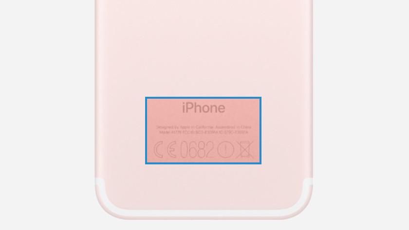 Modelnummer iPhone achterkant
