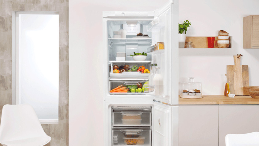 Open fridge in kitchen