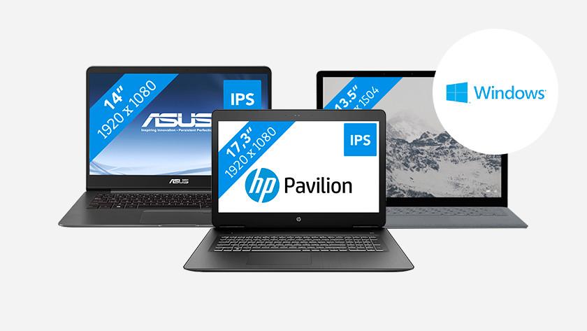 Een Asus, HP en Microsoft Surface Windows laptop.