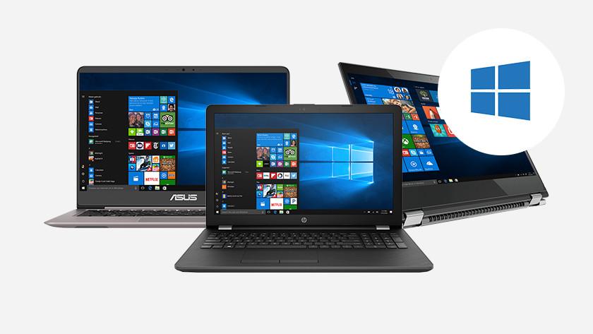 Drie Windows laptops met Windows 10 startmenu. Windows logo in hoek.