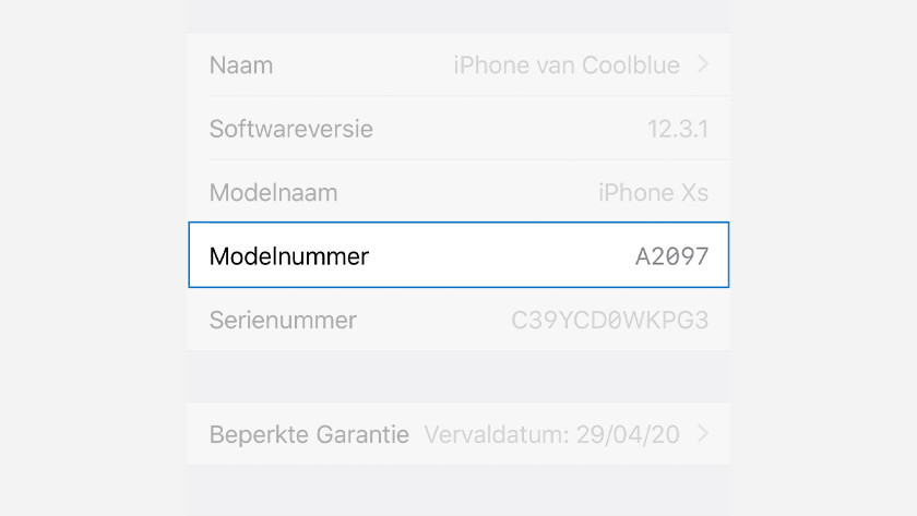 Modelnummer iPhone