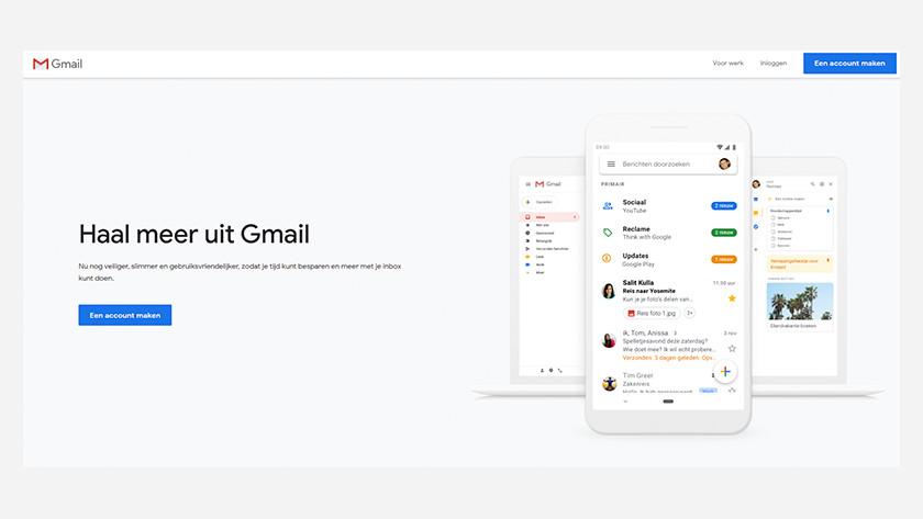 De landingspagina van Gmail