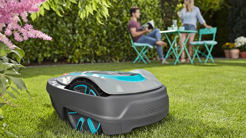 Robot lawn mower on lawn
