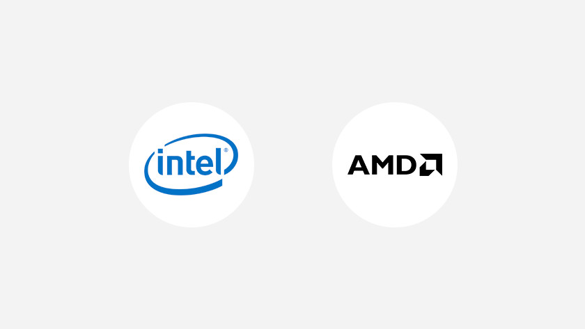 Intel logo en AMD logo.