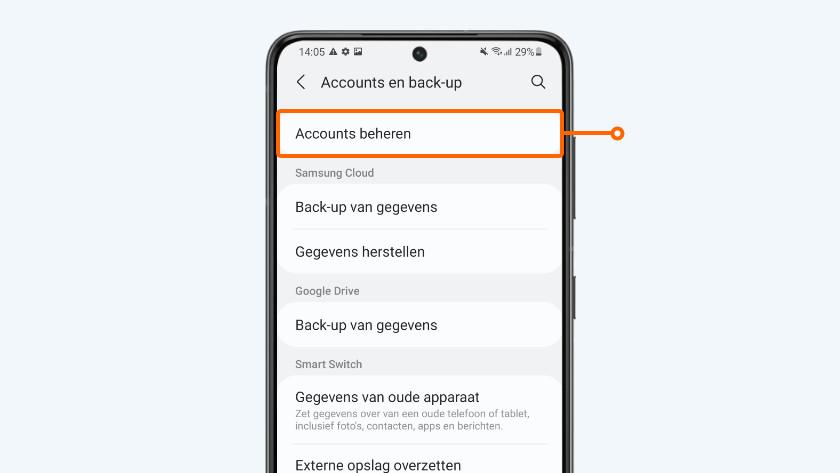 Selecteer 'Accounts beheren'