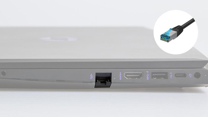 Ethernet aansluiting op een laptop.