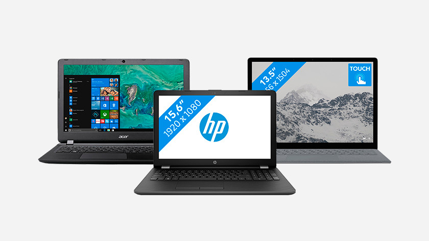 Acer, HP, and Surface laptop.