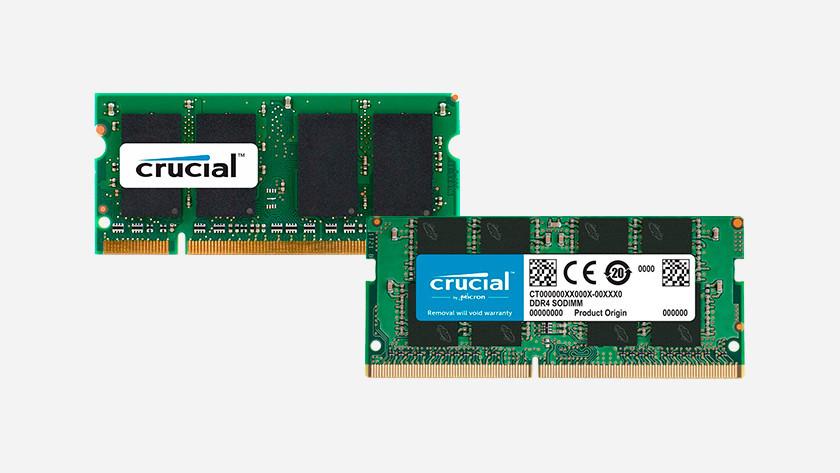 Crucial SODIMM RAM modules geïllustreerd