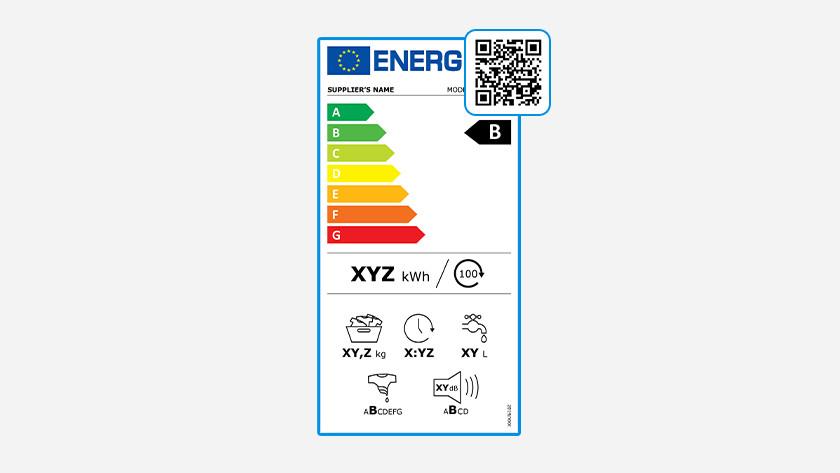 QR code op energielabel wasmachines