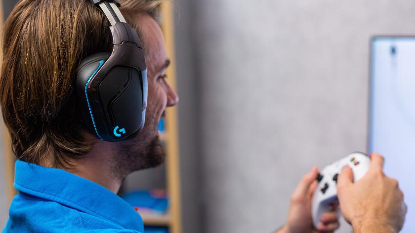 Boy gaming headset on boy's head.