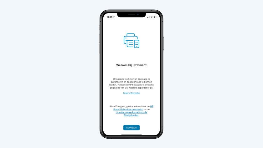 HP Smart app start scherm