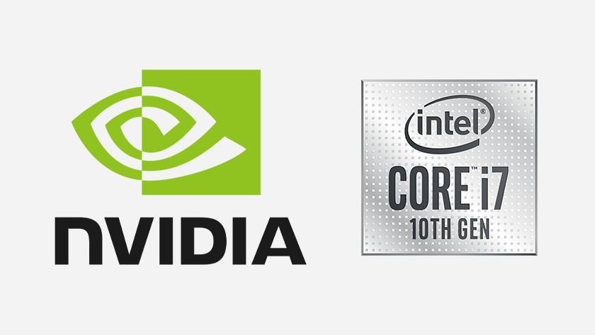 De logo's van NVIDIA en Intel Core i7.