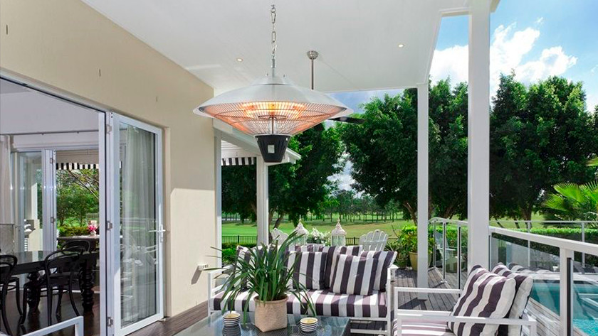 Hanging, electric patio heater
