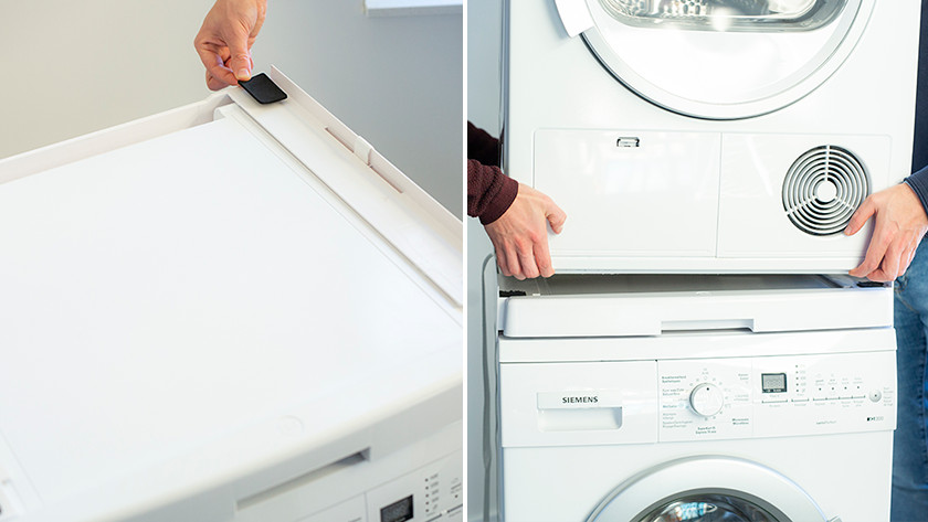 Place the dryer on the washing machine