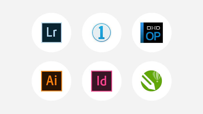 Verschillende soorten fotobewerkprogramma's naast elkaar.