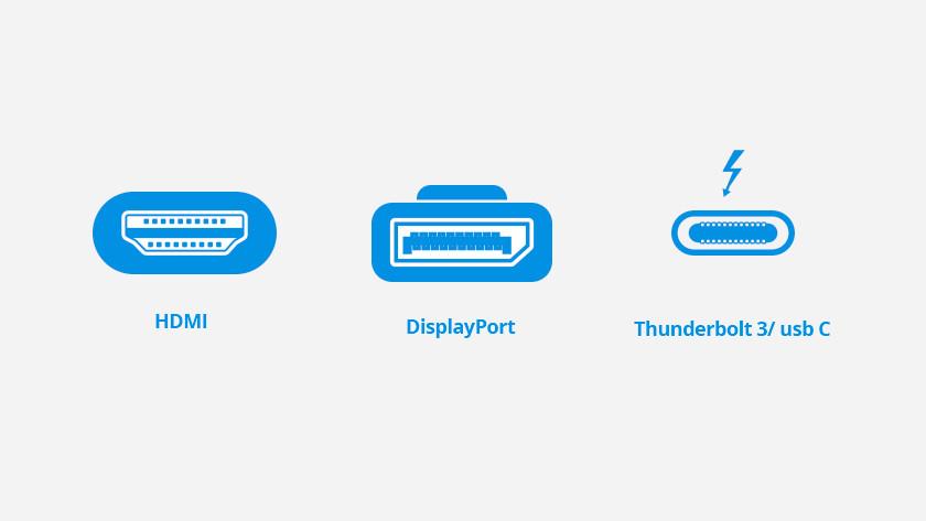 Hdmi, DisplayPort en Thunderbolt 3/usb C poorten geïllustreerd.