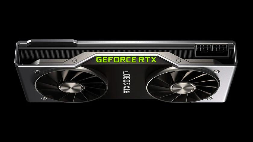 Een NVIDIA GeForce RTX videokaart.